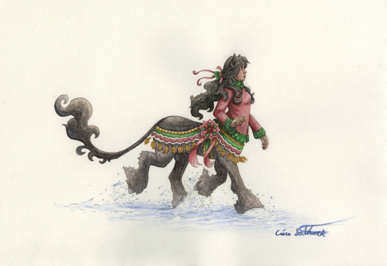 centaur girl in the snow