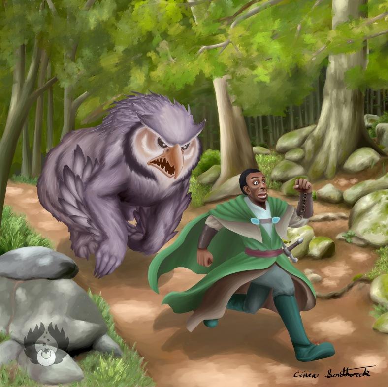 OwlBear Chasing a Man