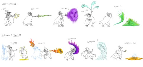 a spread sheet showing off the light and strong attacks of the character Gaipett if he was in a fighting game.